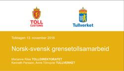 Norsk-svensk grensetollsamarbeid forside