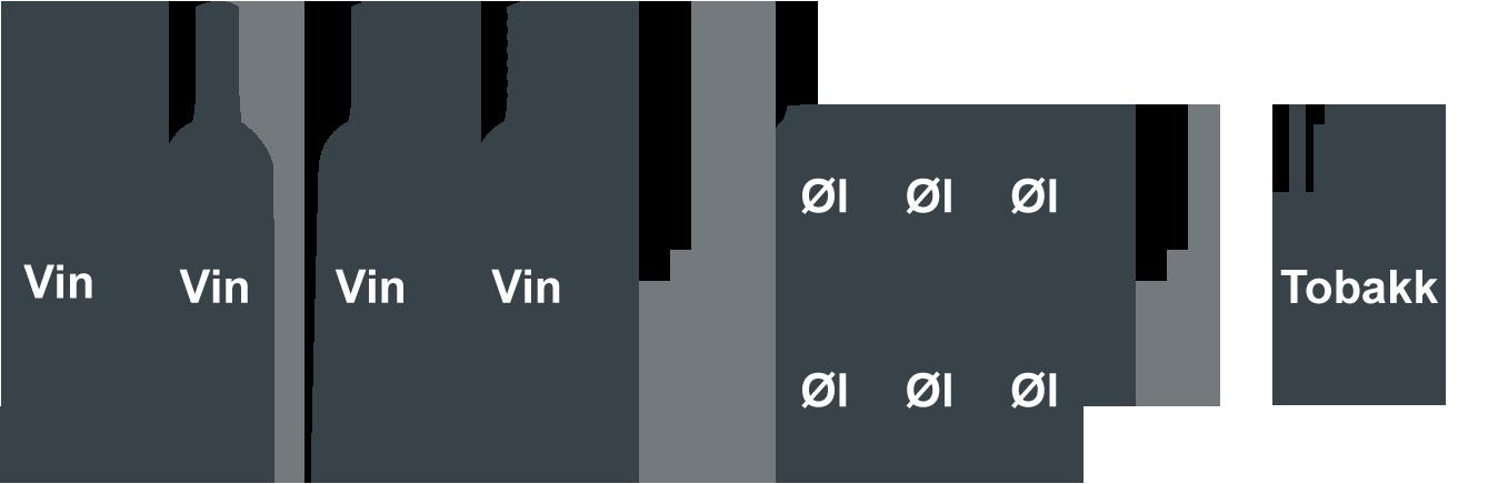 Illustrasjon av fire flasker vin, seks små bokser øl og sigaretter