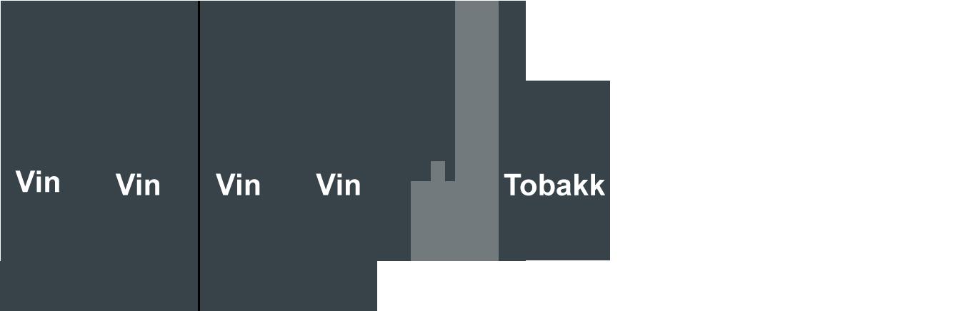 illustrasjon: 4 flasker vin og tobakk